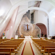 Large interior of modern church — Stock Photo
