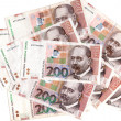 croatian kuna banknotes hrk layed out — Stock Photo