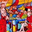 Stock Photo: Stained glass showing Jesus condemned to death