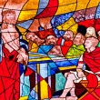 Stained glass showing Jesus condemned to death — Stock Photo