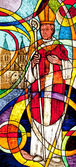 Stained glass showing the bishop — Stock Photo
