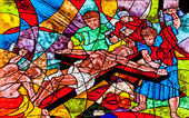 Stained glass showing Jesus crucifixion — Stock Photo