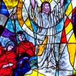Stained glass showing Jesus resurrection — Stock Photo