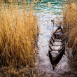 Small fishing boat in swamp — Stock Photo