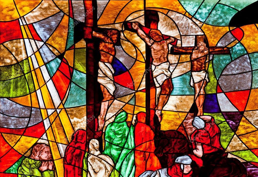 Resultado de imagem para vitral cristo crucificado