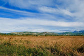 Valley with rich crop fields and cloudy blue sky — Stock Photo
