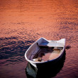 Fishing boat on the river in the sunset. — Stock Photo