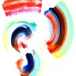 Abstract circular watercolor brush strokes in many colors. — Stock Photo