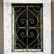 Rusty green metal window with decorative bars — Stock Photo