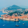 Stock Photo: View of old town of Dubrovnik on hazy day