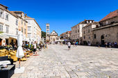 Main square of the old town of Hvar on Hvar island in Croatia — Stock Photo
