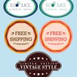 Collection vector free shipping labels, eco juice, vintage retro — Stock Photo #39615269