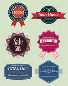 Collection vector labels and badges, vintage retro grunge set — Stock Photo