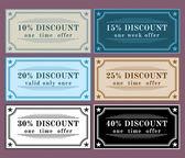 Collection vector discount labels, vintage retro set — Stock Photo