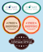Collection vector free shipping labels, eco juice, vintage retro — Stock Photo