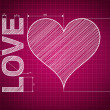 Abstract love heart blueprint, pink background with measures, sc — Stock Photo