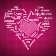 Valentines day and love concept in word tag cloud on geometric b — 图库照片