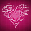 Valentines day and love concept in word tag cloud on geometric b — Zdjęcie stockowe