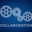 Stock Photo: Collaboration Concept. Technical drawing of gears, ideof t