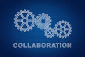 Collaboration Concept. Technical drawing of gears, the idea of t — Foto de Stock