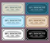 Collection vector discount labels, vintage retro set — Stock Vector
