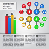 Infographics concept. Metaball colorful round diagram with bars — Vettoriale Stock