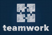 Teamwork concept with puzzle pieces on blueprint — Stock Vector