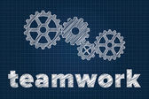 Teamwerk concept met toestellen op blauwdruk. scribbled stijl. — Stockvector