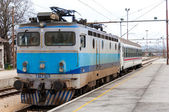 Electrical train on train station in eastern Europe, Croatia. — Stock Photo