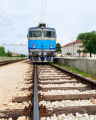 Electrical train on train station in eastern Europe, Croatia. — Stockfoto