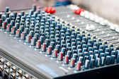 Close-up of sound mixer control panel with many controls — Stock Photo