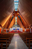 Interior of large modern catholic cathedral — Stock Photo