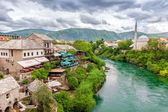 Panoramic view of the river and old city of Mostar — Stock Photo