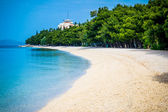 Beautiful azure blue Mediterranean beach surrounded by trees — Stock Photo