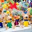 Antique wooden figurines toys at the fair — Stock Photo #48155487