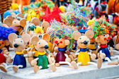 Antique wooden figurines toys at the fair — Stok fotoğraf
