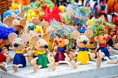 Antique wooden figurines toys at the fair — Foto de Stock