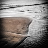 Dramatic and dark scene on a sandy beach. Processed image. — Stock Photo