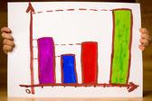 Büyük iş bir çocuk tarafından çizilmiş diyagramı — Stok fotoğraf