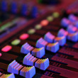 Audio mixing console table - Stock Photo