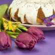 Easter composition with cake and flowers — Stock Photo