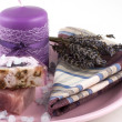 Spa setting with lavender flowers and natural soap - Stock Photo