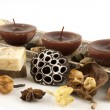 Stock Photo: Spa composition with natural soap and candles