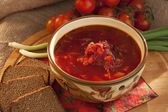Ukrainian and russian national red borscht of vegetables and meat — Stock Photo