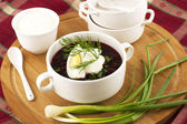 Vegetable cold soup with beetroots - speciality for hot days — Stock Photo