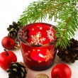 Christmas still life with candles and fir tree branches — 图库照片