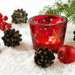 Christmas still life with  candles and fir tree branches — Stock fotografie