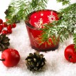 Stock Photo: Christmas still life with candles and fir tree branches
