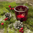 Christmas composition with candle holder — Stock Photo