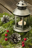 Christmas composition with lantern — Stock Photo